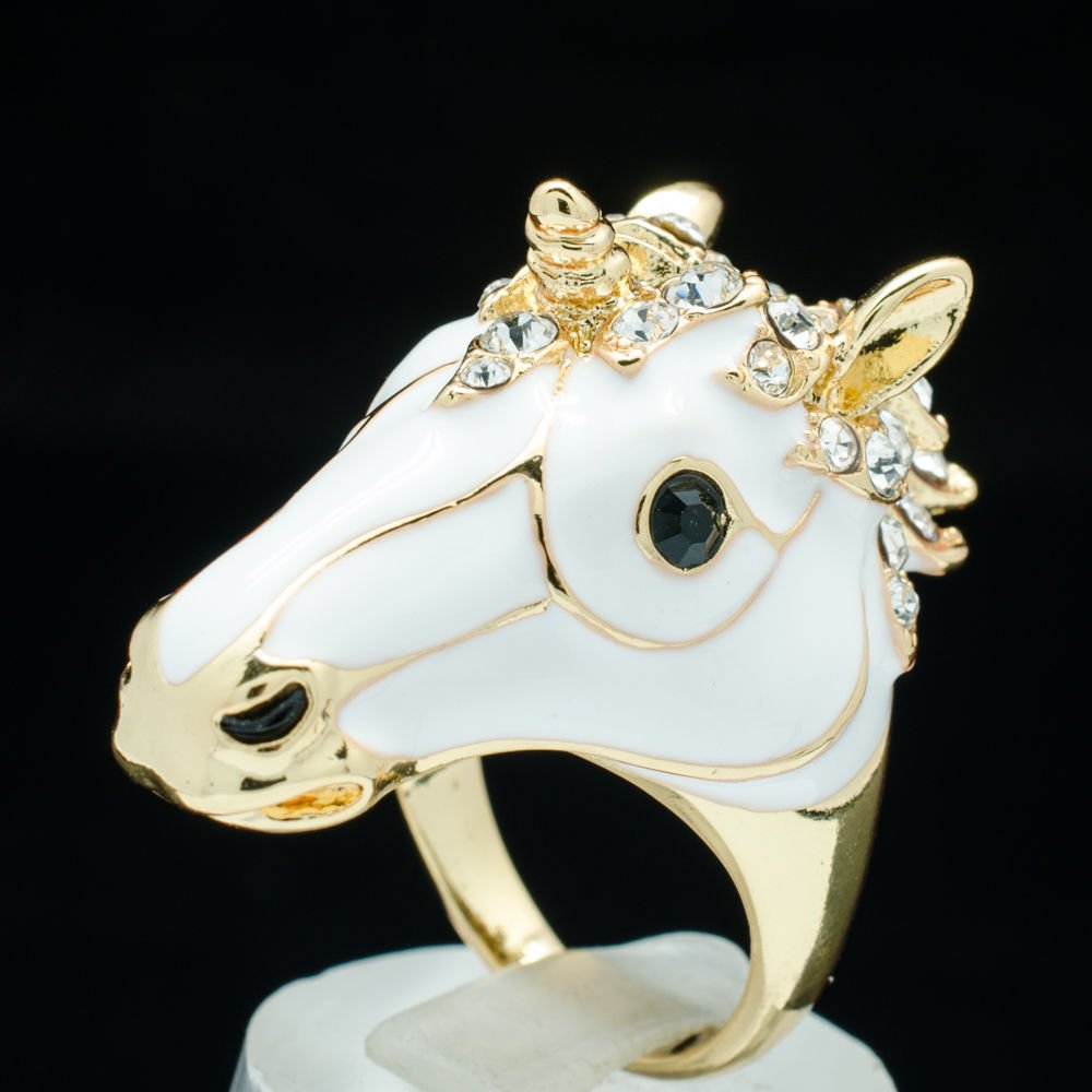 Swarovski Crystals White Enamel Unicorn Horses Cocktail Ring Accessories 7# 2177