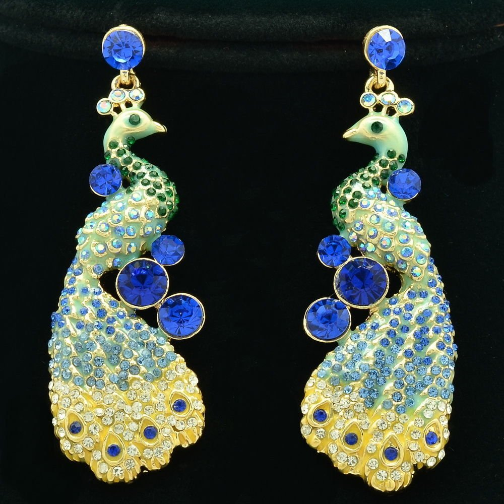 Rhinestone Crystals Animal Blue Peafowl Peacock Dangle Earring For Women FA3185