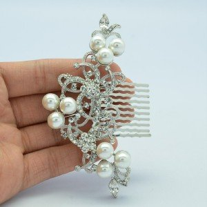 Flower Hair Comb Rhinestone Crystal Imitated Pearl Bridal Wedding Jewelry 2832FS