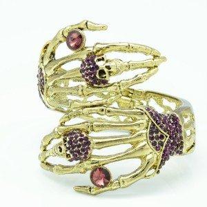 VTG Style Rhinestone Crystals Purple Skeleton Hand Skull Bracelet Bangle Cuff