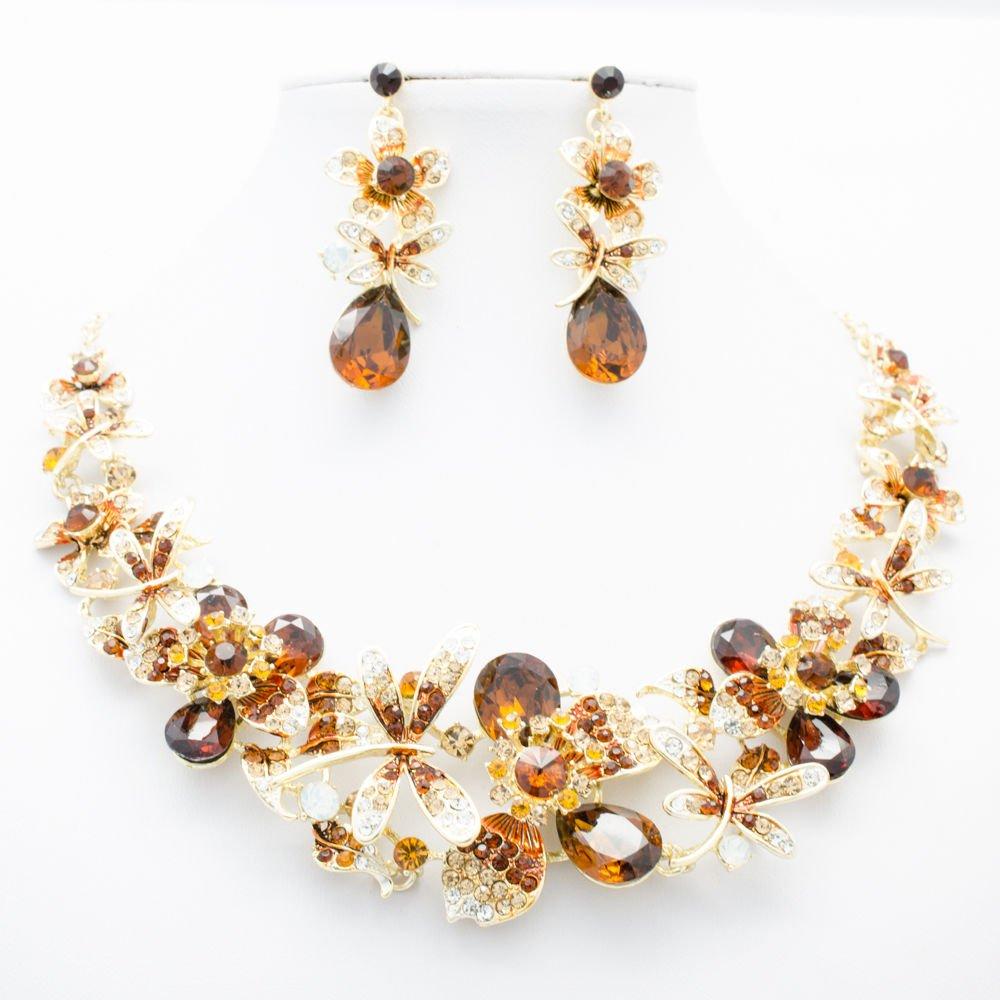 Topaz Brown Dragonfly Flower Necklace Sets Rhinestone Crystal Women Jewelry 5394