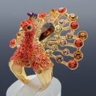 Swarovski Crystal Luxury H-Quality Red Peafowl Peacock Cocktail Ring 7# SR2055-1