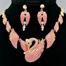 High Quality Animal Pink Swan Necklace Earring Set W/ Swarovski Crystals