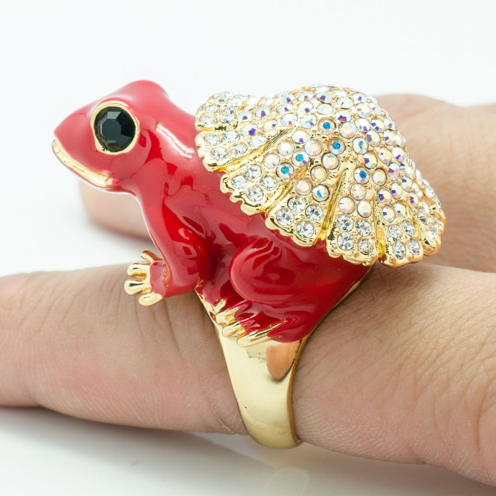 Hi-Q Swarovski Crystal Red Enamel Frog Cocktail Ring Women Jewelry Size 7# 2142