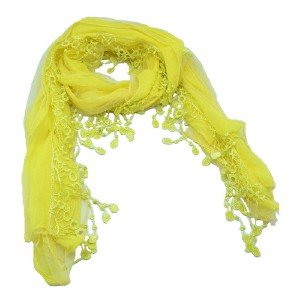 Women Girls' Long Pure Yellow Lace Crinkle Soft Scarf Wrap Scarves