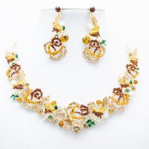 Rhinestone Crystal Brown Animal Bird Rose Flower Necklace Set Women Jewelry 6854