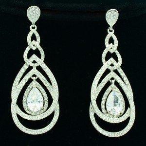 Clear Rhinestone Crystals Bridal Blink Drop Dangle Pierced Earring 21507