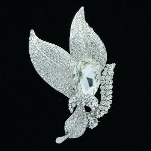 Clear Leaves Brooch Broach Pin Drop Rhinestone Crystals Wedding 6018