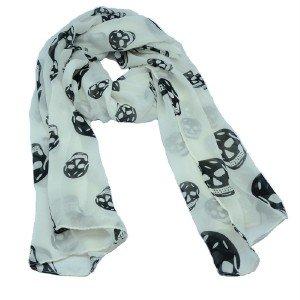 Ladies Fashion White Wrap Shawl Scarves Cool Skull Skeleton Design Long Scarf