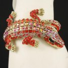 Animal Alligator Crocodile Bracelet Bangle Cuff w/ Red Rhinestone Crystal