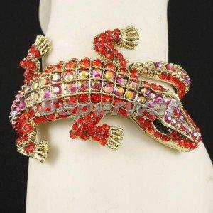 Animal Alligator Crocodile Bracelet Bangle Cuff w/ Red Rhinestone Crystal