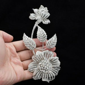 "Clear Flower Floral Brooch Broach Pin 5.7"" Bridal Bride Rhinestone Crystals 4581"