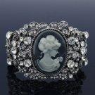 Fabulous Jewelry Flower Bracelet Bangle Cuff Clear Rhinestone Crystals Relief