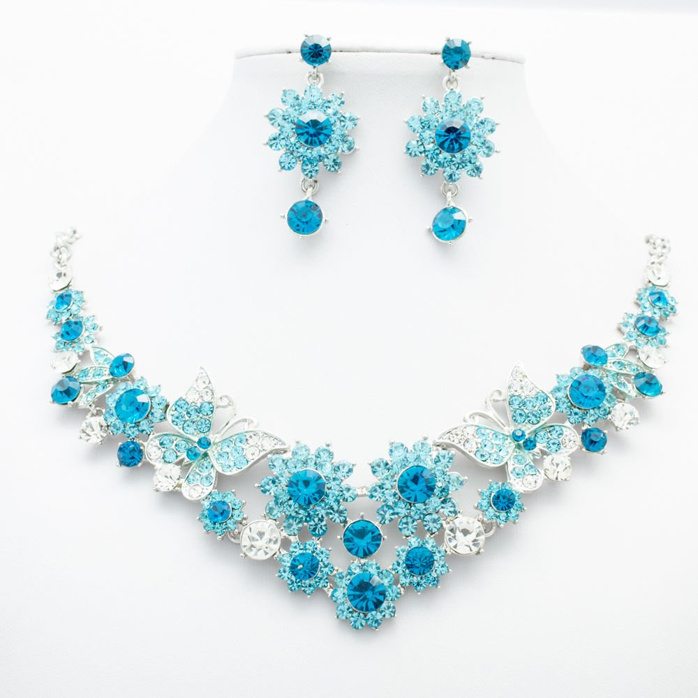 Rhinestone Crystal Sky Blue Flower Butterfly Necklace Jewelry Sets Jewelry 00328