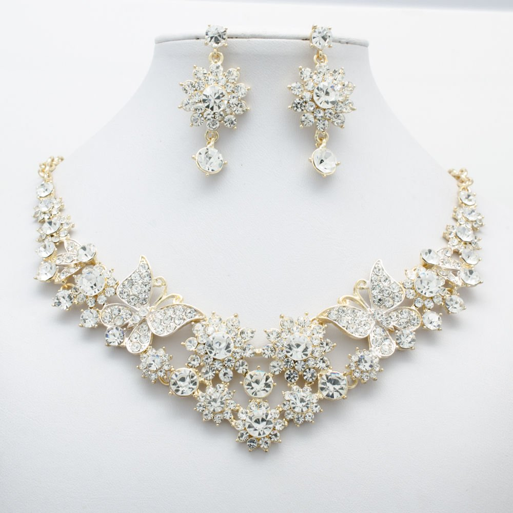 Bridal Flowers Butterfly Necklace Jewelry Sets Rhinestone Crystal Jewelry 00328