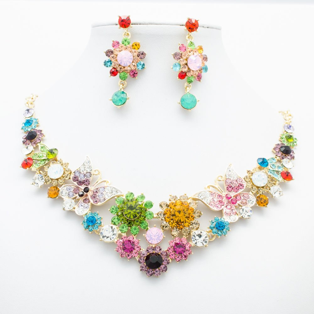 Super Mix Flower Butterfly Necklace Jewelry Sets Rhinestone Crystal Women 00328