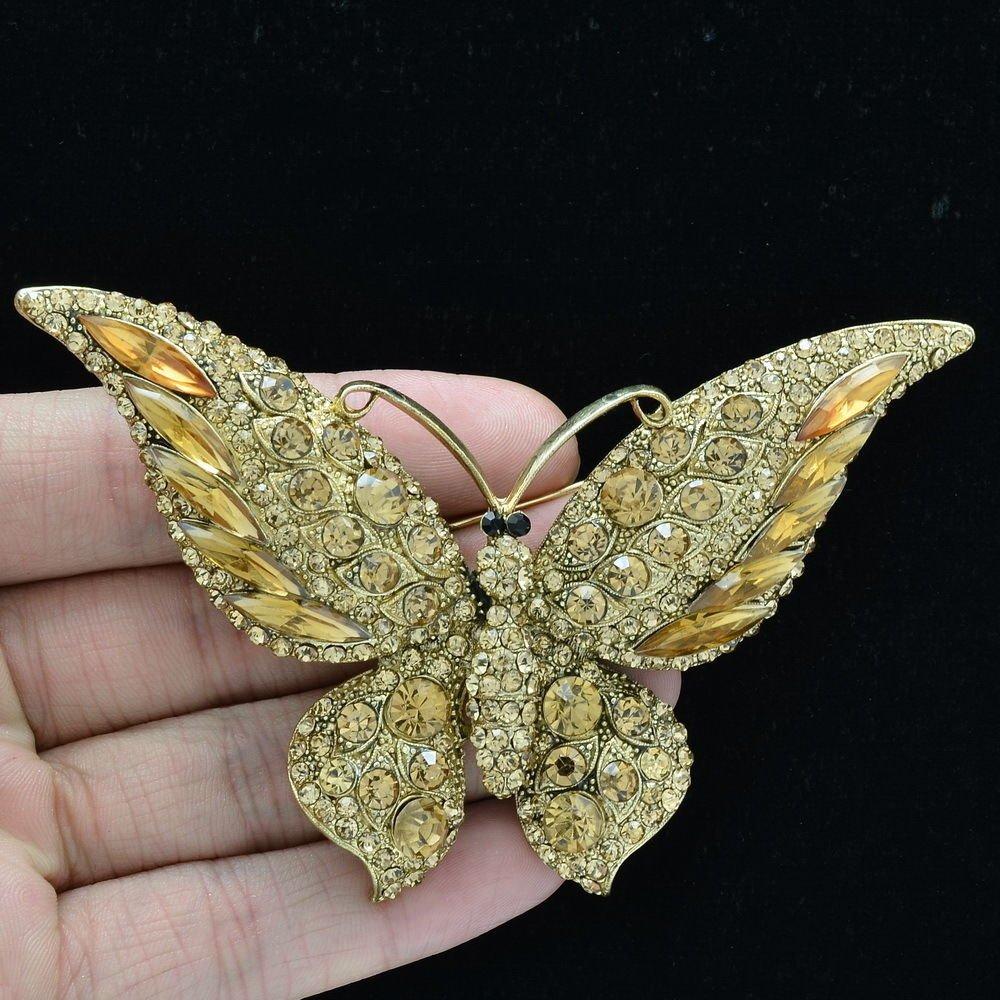 Pretty Brown Butterfly Brooch Broach Pin Women's Jewelry Rhinestone Crystal 4538