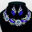 Wonderful Royal Drop Leaves Flower Necklace Earring Sets Rhinestone Crystal 6703