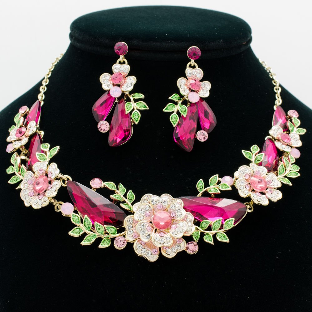 Dazzling Fuchsia Drop Leaf Flower Necklace Earring Sets Rhinestone Crystals 6703