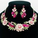 Dazzling Fuchsia Drop Leaf Flower Necklace Earring Sets Rhinestone Crystals 6703