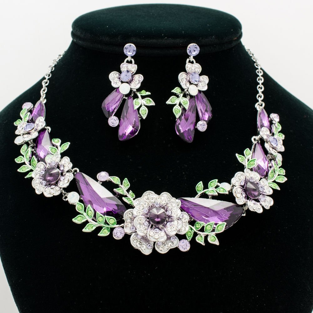 Charming Purple Drop Leaves Flower Necklace Earring Sets Rhinestone Crystal 6703