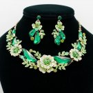 Glitzy Sea Green Drop Leaf Flower Necklace Earring Sets Rhinestone Crystals 6703