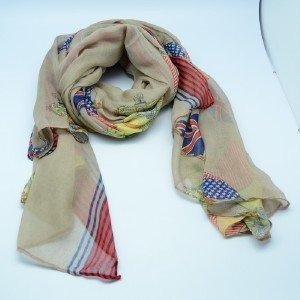 Cool Skull USA&UK Flag Design Long Scarf Pashmina Wrap Shawl Scarves Beige