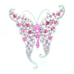 "Delicate Pink Scalewing Butterfly Brooches Broach Pin 2.6""  Rhinestone Crystals"