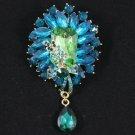 """Fashion Drop Green Rhinestone Crystal Flower Brooch Pin 3.5"""" 4783"""
