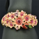 High Quality Ladybug Flower Cuff Bracelet Bangle w/ Pink Swarovski Crystals