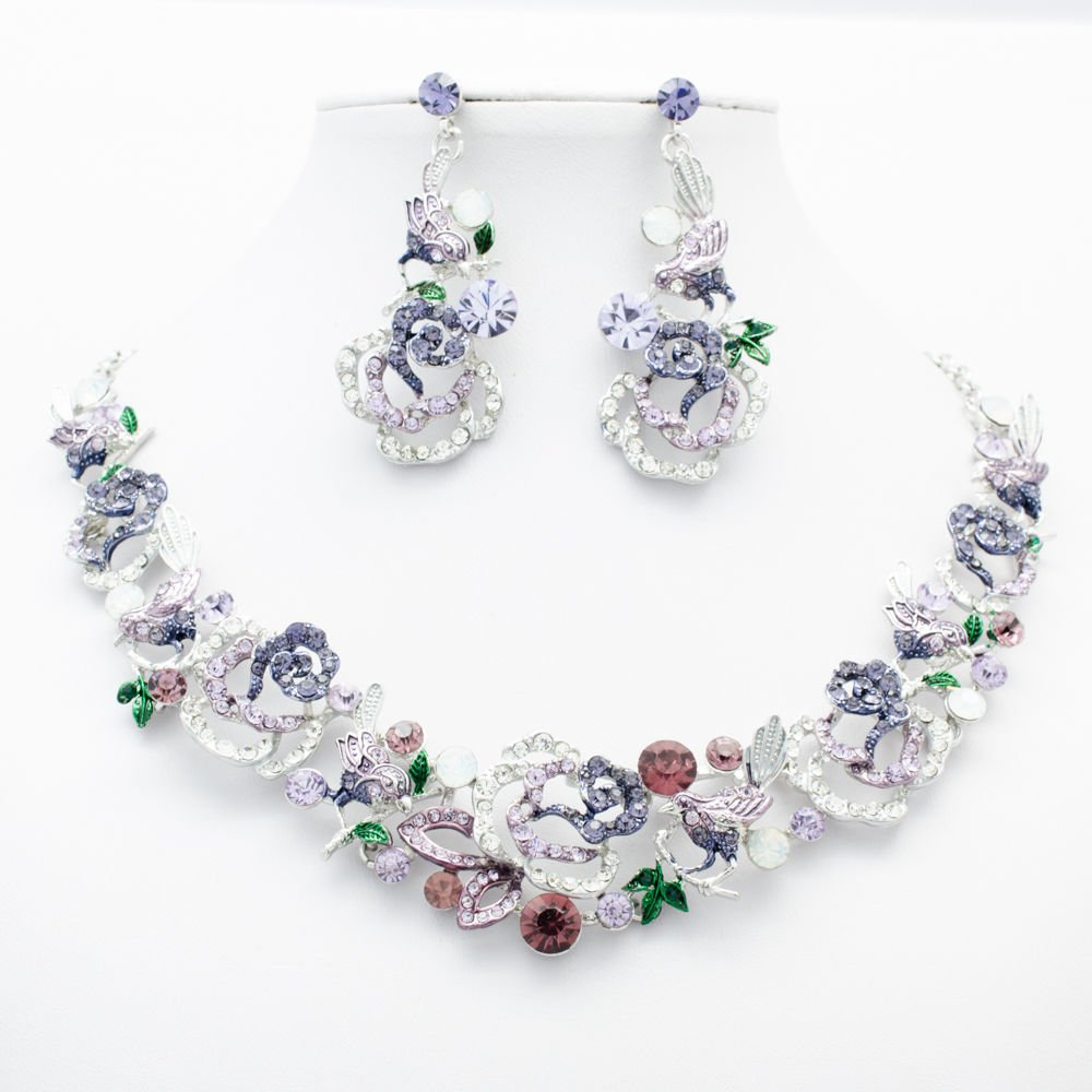 Purple Animal Bird Rose Necklace Set Rhinestone Crystals Jewelry For Women 6854
