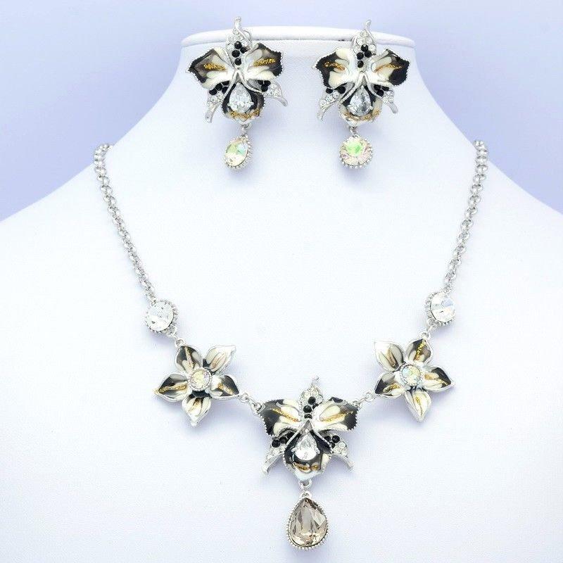 Tear Drop Enamel Flower Necklace Earring Jewelry Set Swarovski Crystal 416301