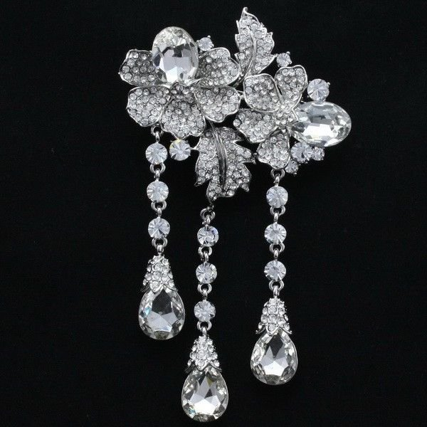 "Women Wedding Bridal Flower Brooch Broach Pin 4.7"" Clear Rhinestone Crystal 4740"