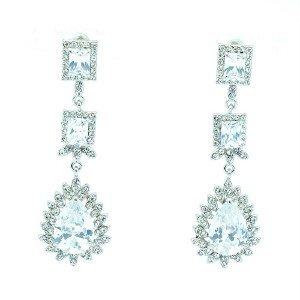 Bridal Bridesmaid Dangle Flower Pierced Earring W/ Clear Swaroski Crystals 10674