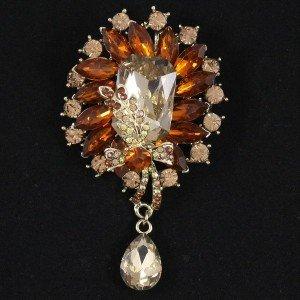 """Glitzy Brown Drop Flower Brooch Broach Pin Pendant 3.5"""" Rhinestone Crystals 4783"""