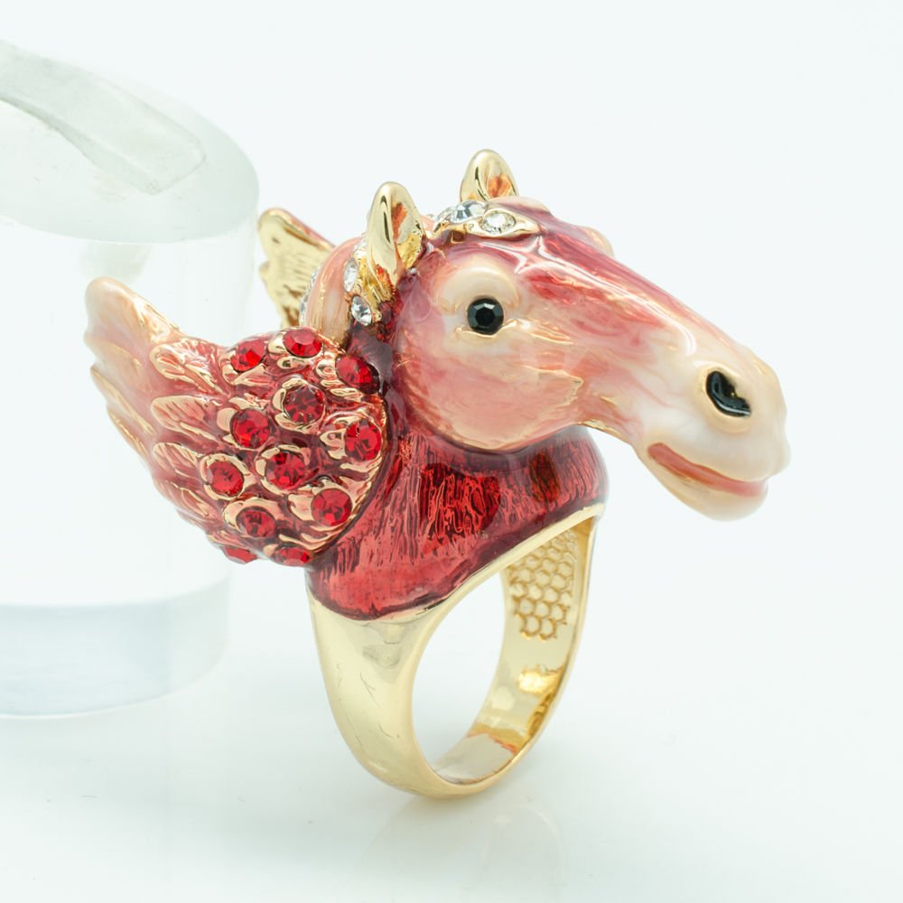 Chic Swarovski Crystal Red Enamel Horse Wing Cocktail Ring Women Jewelry 7# 2179
