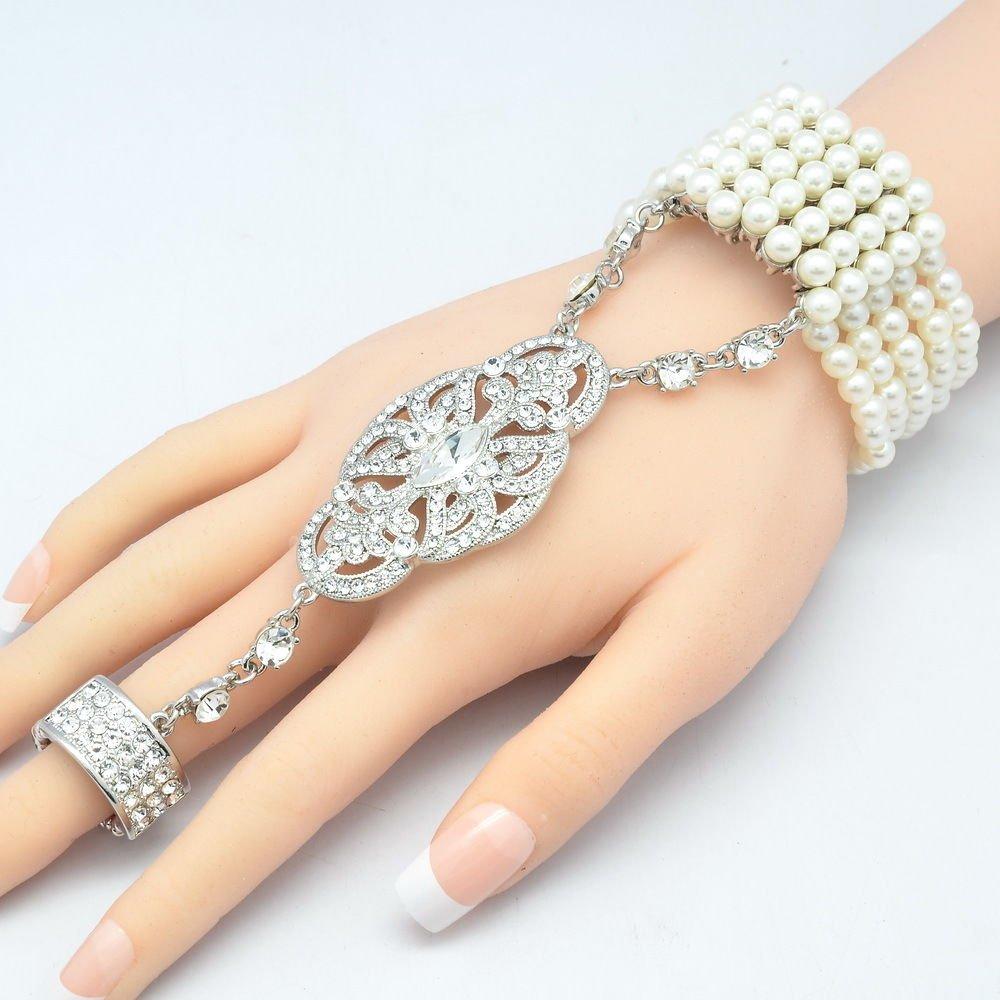 Hot Bridal Wedding Clear Bracelet Chain Ring Faux Pearl Rhinestone Crystals 9565