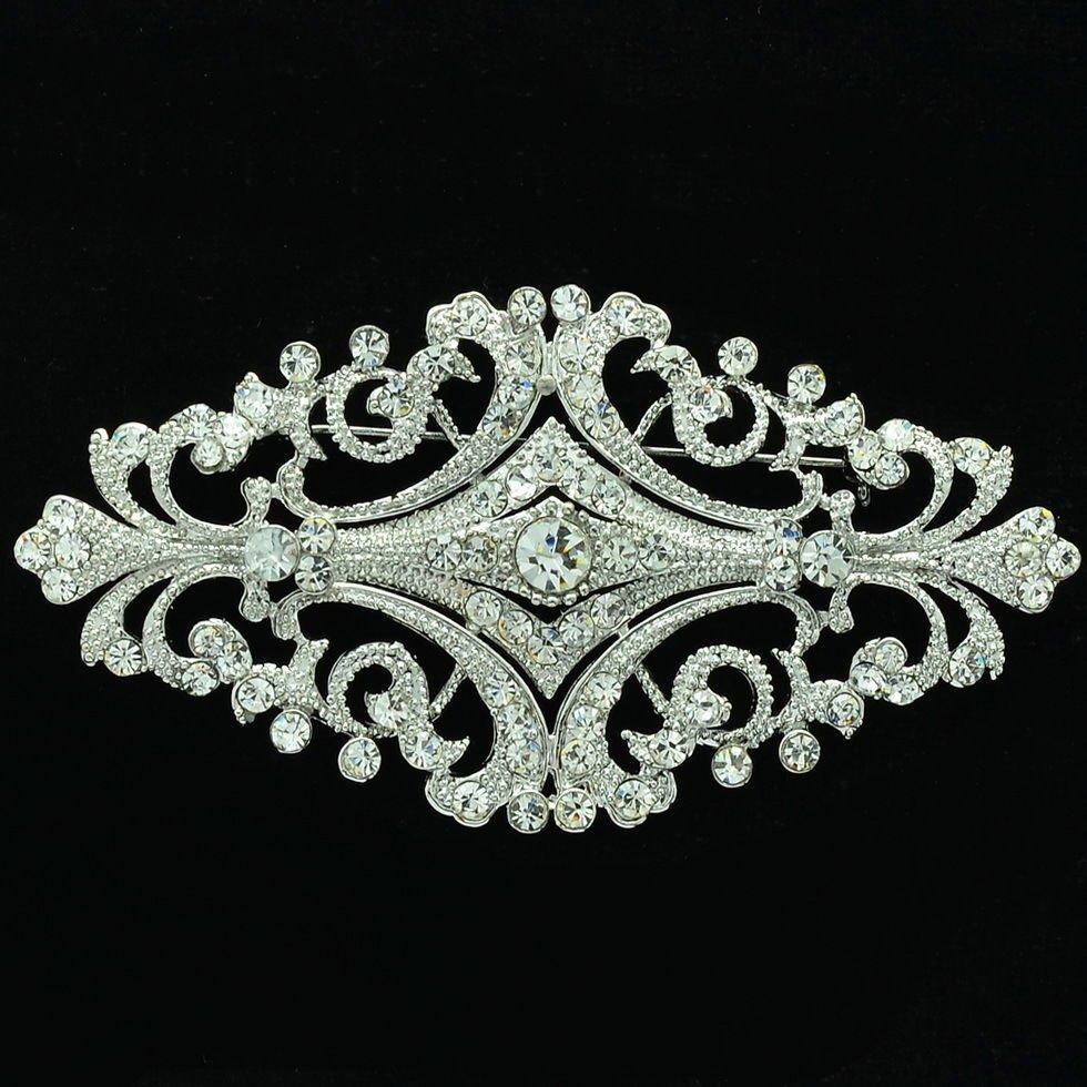Europe Royal Style Flower Bud Brooch Pin Rhinestone Crystal Women Jewelry XBY060