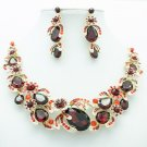 Rhinestone Crystals Flower Fruit Necklace Earring Sets Red Prom Jewelry 5396