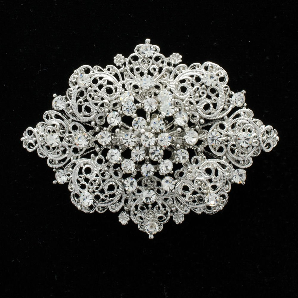 Rhinestone Crystal Palace Heart Bouquet Brooch Broach Pins For Women Bridal 3768