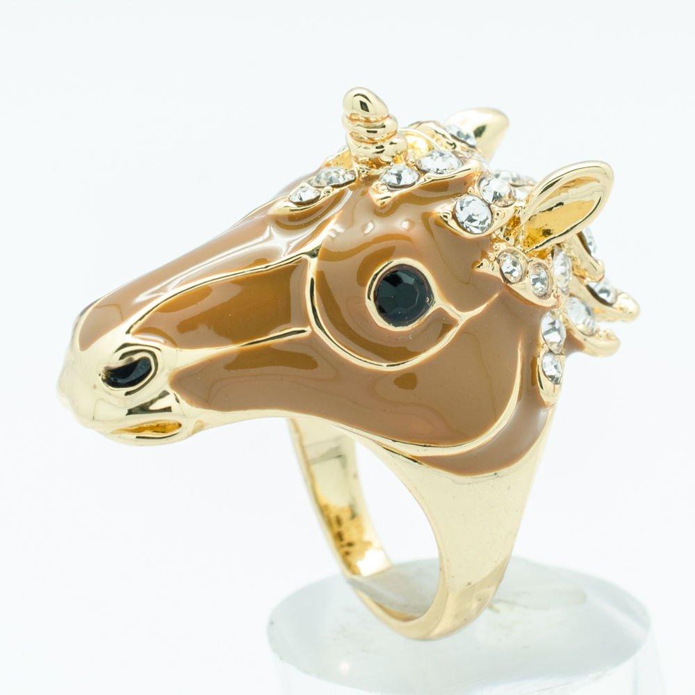 Rhinestone Crystal Brown Enamel Horse Unicorn Cocktail Ring Jewelry Sz 8# 2177-1