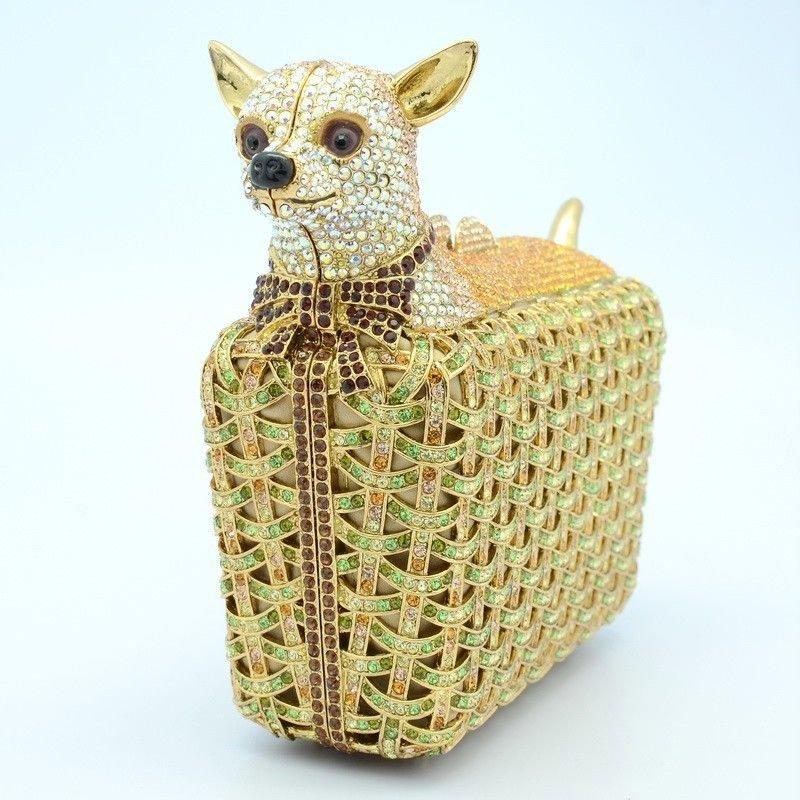 Cute Topaz Dog Chihuahua Clutch Evening Bag Purse Handbag With Swarovski Crystal