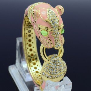 Swarovski Crystal Pink Enamel Animal Leopard Panther Bracelet Bangle Cuff 00744
