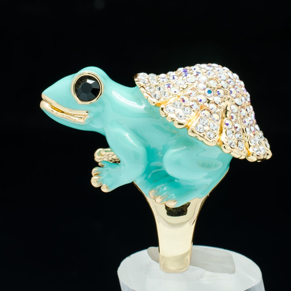 Hi-Q Swarovski Crystals Jade Green Enamel Frog Cocktail Ring Jewelry Sz 7# 2142