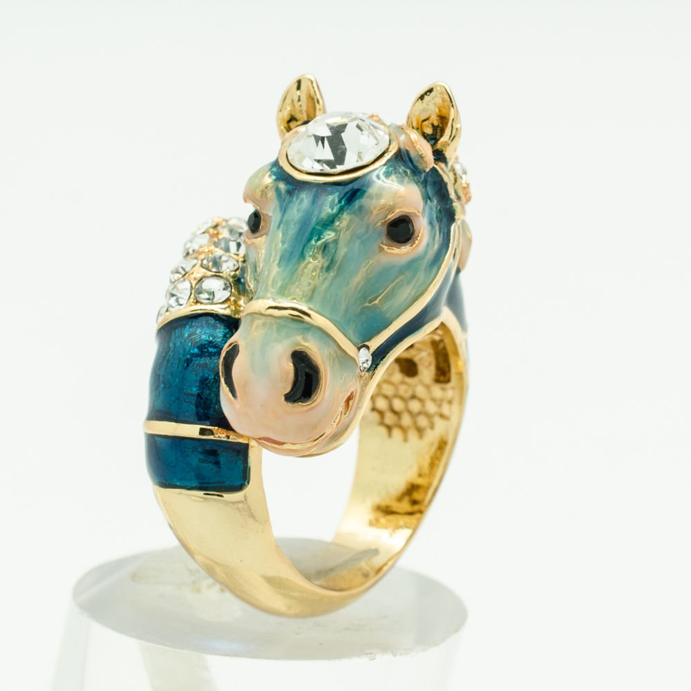 Dark Blue Horse Steed Cocktail Ring Rhinestone Crystal Women Jewelry Sz 8# 2178