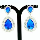 Luxury Dual Tear Drop Dangle Pierced Earring Blue Rhinestone Crystal 122418