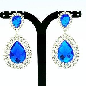 Luxury Dual Tear Drop Dangle Pierced Earring Blue Rhinestone Crystal 122418