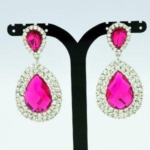 Luxury Dual Tear Drop Dangle Pierced Earring Rhinestone Crystal Fuchsia 122418