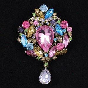 """Drop Rhinestone Crystals Cute Multicolor Flower Brooch Pin 3.5"""" 4082"""