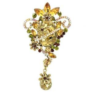 Art Deco Flower Brooch Pin Rhinestone Crystal Topaz Teardrop Pendant 6301